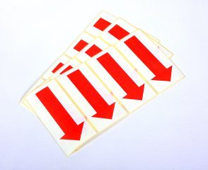 Self Adhesive Paper Arrows - 50mm Red